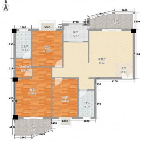 博学仕府3室1厅2卫1厨183.00㎡户型图