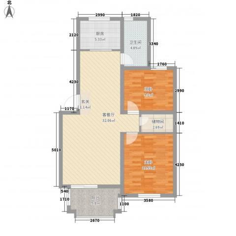 唐仁苑2室1厅1卫1厨105.00㎡户型图