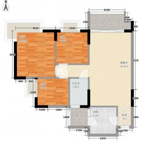 天明豪庭3室1厅1卫1厨70.39㎡户型图