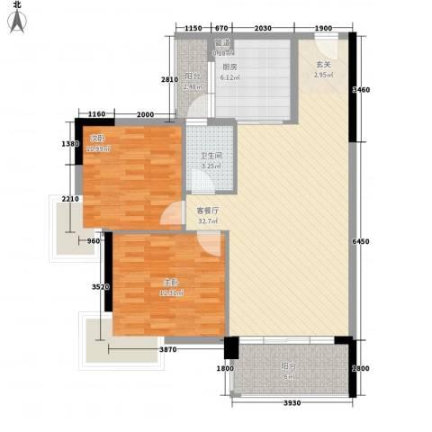 上排苑2室1厅1卫1厨104.00㎡户型图