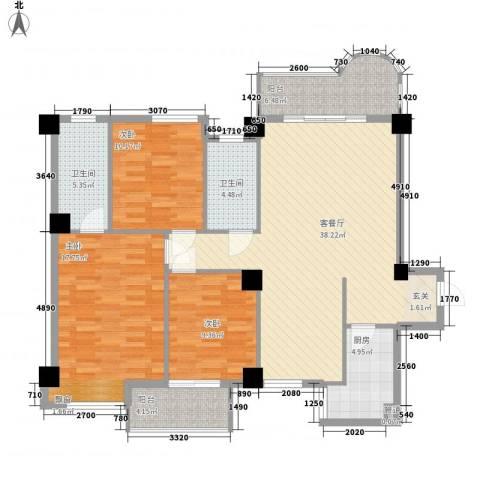 未来海岸系天成3室1厅2卫1厨131.00㎡户型图