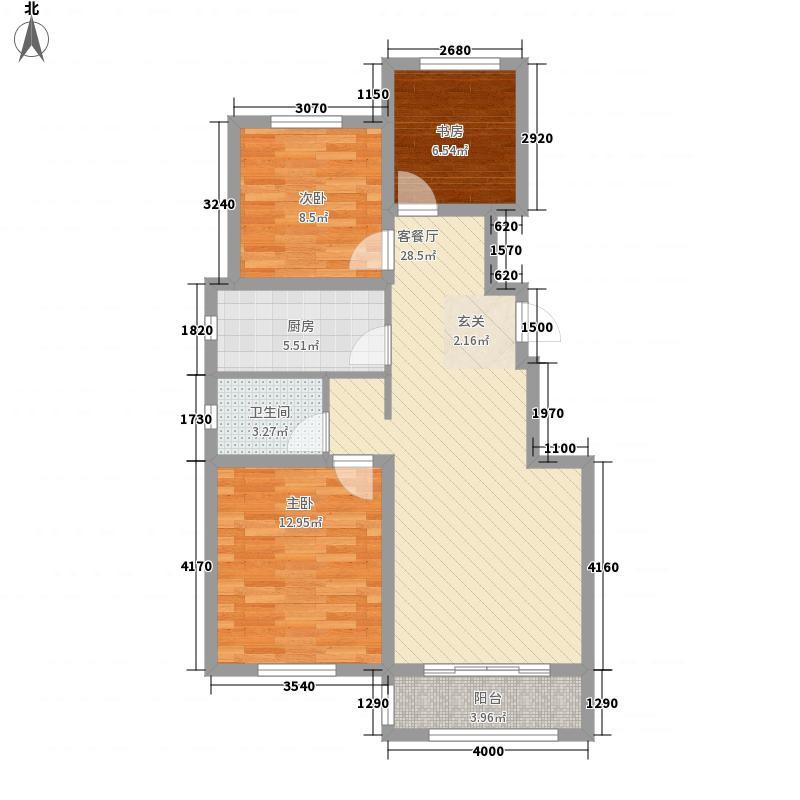 城北国际村3室1厅1卫1厨69.21㎡户型图