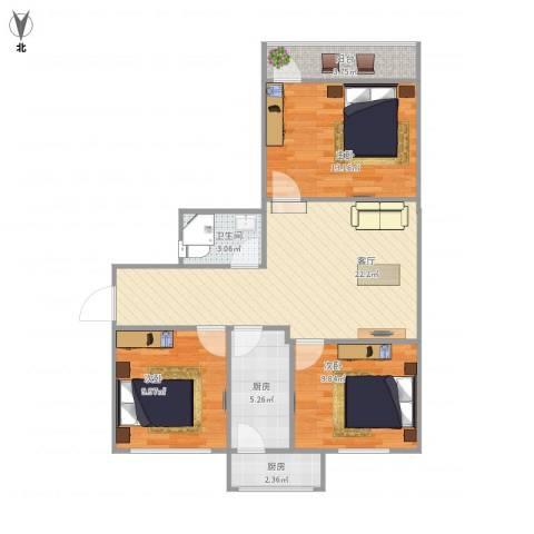 花园路单位宿舍3室1厅1卫2厨94.00㎡户型图