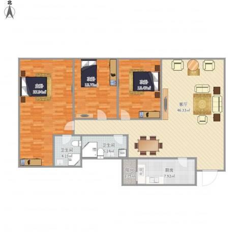 和基花园NU130073室1厅2卫1厨160.00㎡户型图