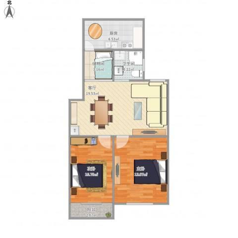 南苑小区2室1厅1卫1厨80.00㎡户型图