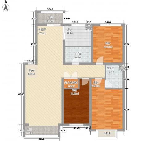 包豪斯国际社区3室1厅2卫1厨138.00㎡户型图