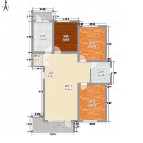 包豪斯国际社区3室1厅1卫1厨115.00㎡户型图