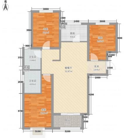 绿地・蓝海大厦3室1厅2卫1厨114.00㎡户型图
