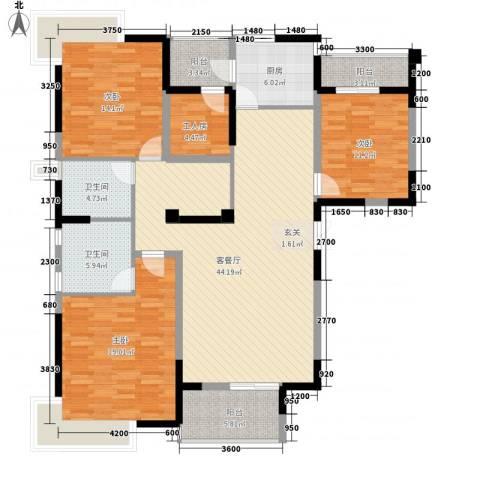 姚公新村3室1厅2卫1厨121.93㎡户型图
