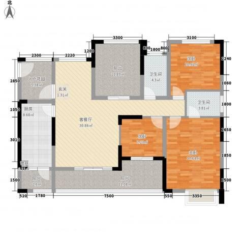 融科海阔天空二期3室1厅2卫1厨164.00㎡户型图