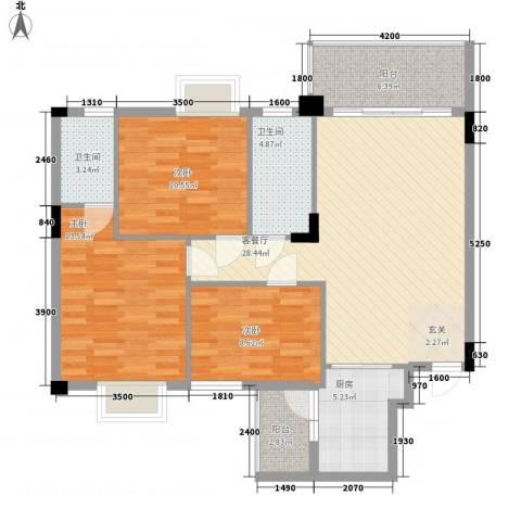 大湖花园3室1厅2卫1厨118.00㎡户型图