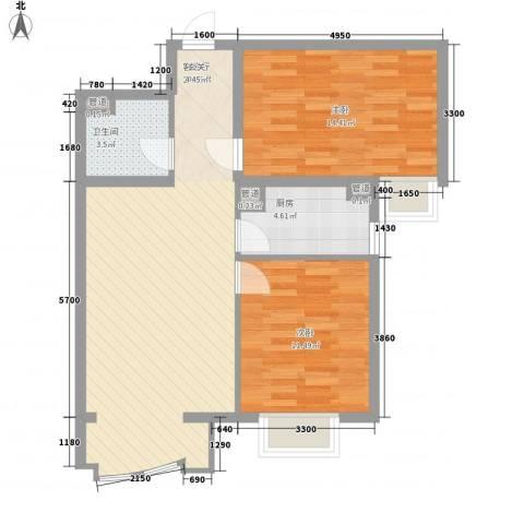 大湖花园2室1厅1卫1厨89.00㎡户型图