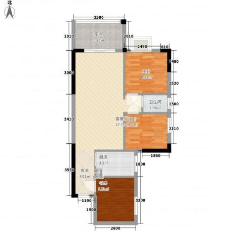 大湖花园3室1厅1卫1厨89.00㎡户型图
