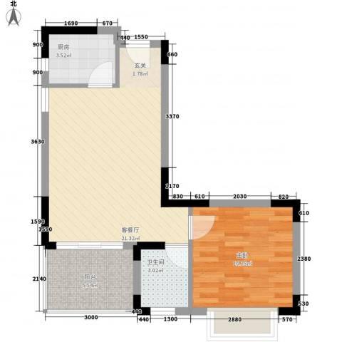 万泉河家园1室1厅1卫1厨63.00㎡户型图