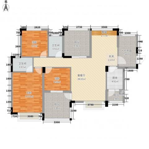 融科海阔天空二期3室1厅2卫1厨163.00㎡户型图