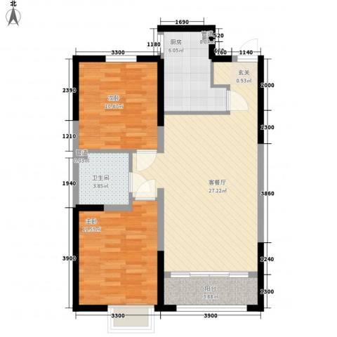 金地国际花园2室1厅1卫1厨90.00㎡户型图