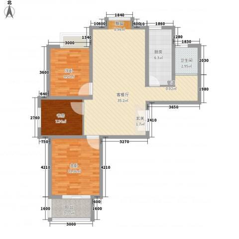 和信广场3室1厅1卫1厨112.00㎡户型图
