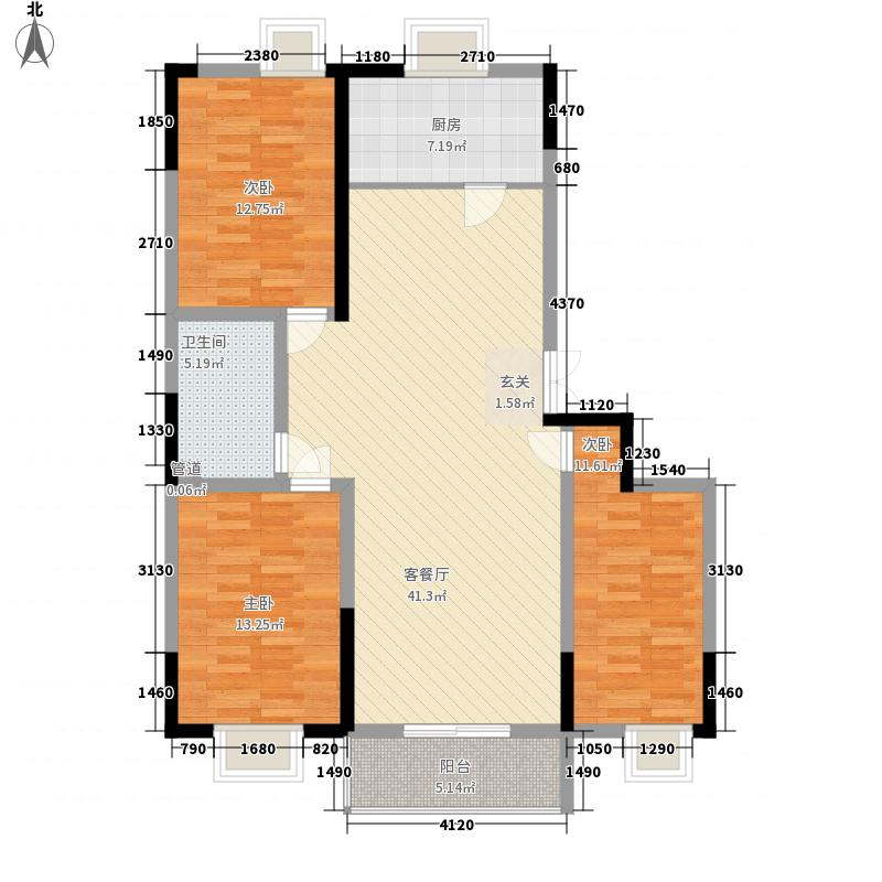 富邦新都136.00㎡F1户型3室2厅1卫1厨