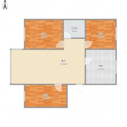 凤凰城3室1厅1卫1厨108.00㎡户型图