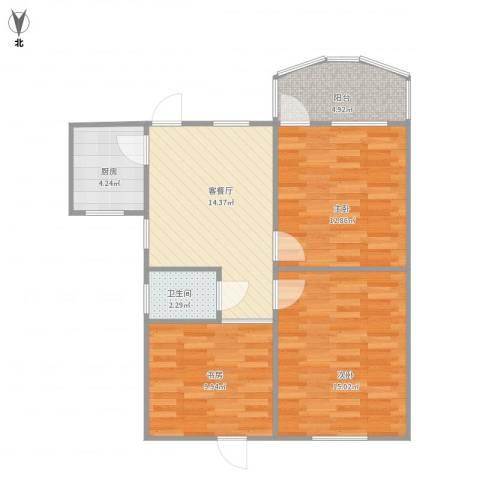 艮园3室1厅1卫1厨86.00㎡户型图