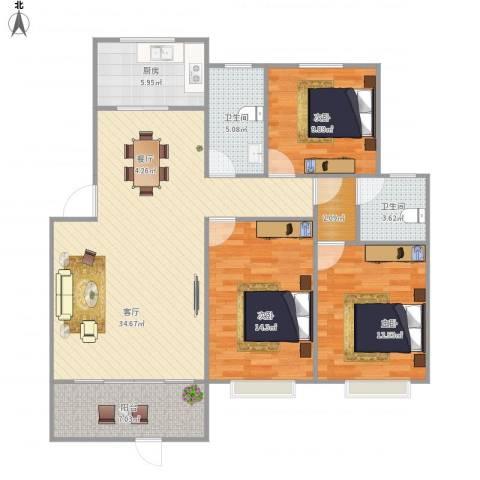锦绣花园3室1厅2卫1厨128.00㎡户型图