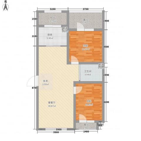 天盛名都2室1厅1卫1厨105.00㎡户型图