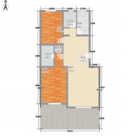 传输局宿舍2室2厅2卫1厨143.00㎡户型图