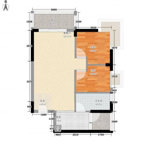 阳光四季2室1厅1卫1厨73.00㎡户型图