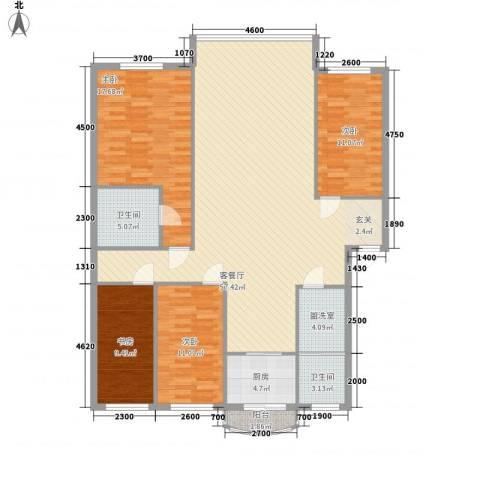金海岸富豪城4室2厅2卫1厨172.00㎡户型图