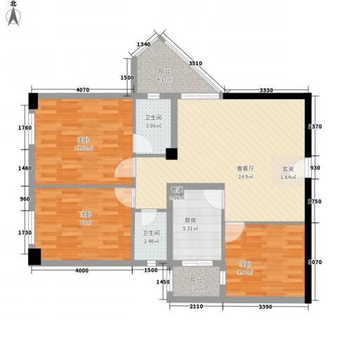 国商大厦3室1厅2卫1厨108.00㎡户型图