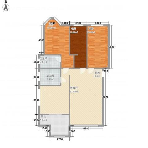 金海岸富豪城3室1厅2卫1厨161.00㎡户型图