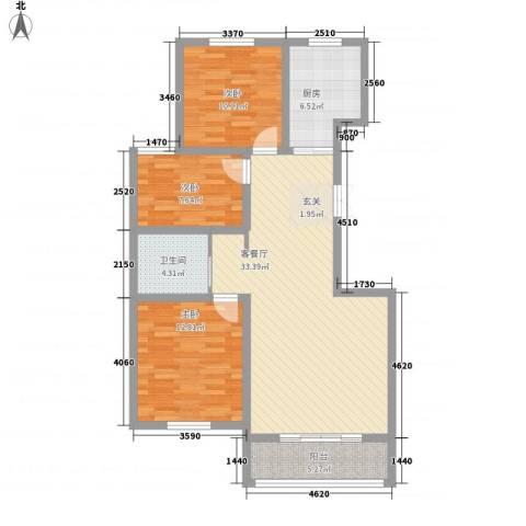 丽景花园3室1厅1卫1厨115.00㎡户型图