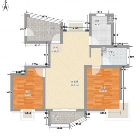海航白金汇2室1厅1卫1厨94.00㎡户型图