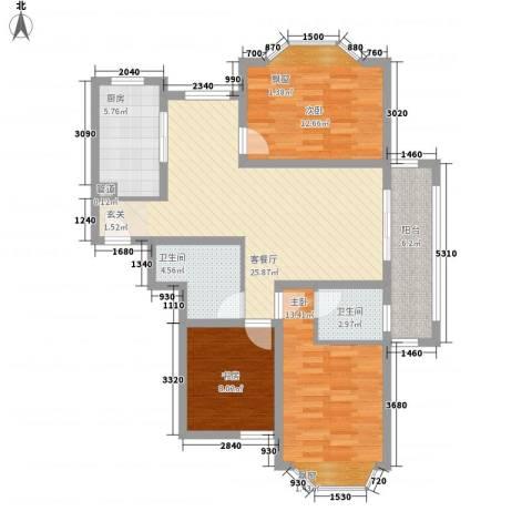 丽景花园3室1厅2卫1厨115.00㎡户型图