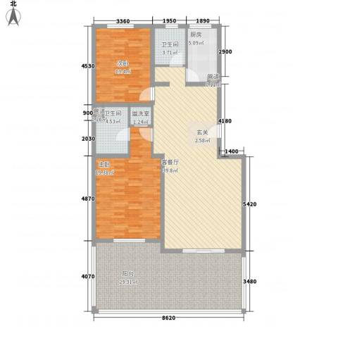 中环11区2室2厅2卫1厨163.00㎡户型图