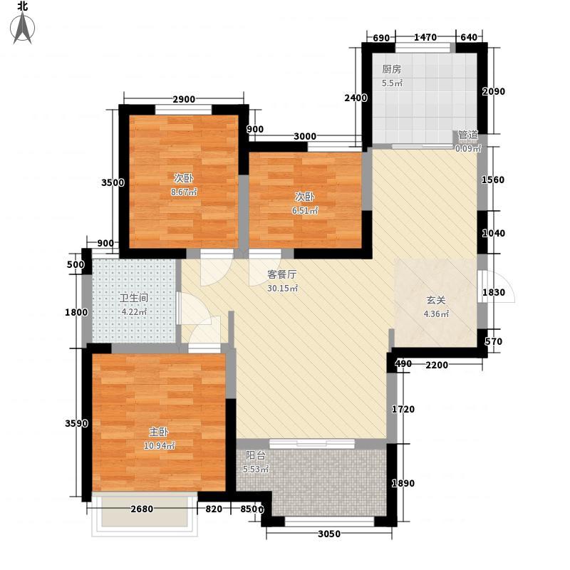 金辉C园3室1厅1卫1厨103.00㎡户型图