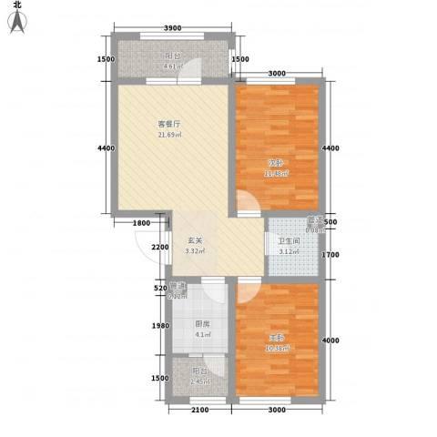 天盛名都2室1厅1卫1厨85.00㎡户型图