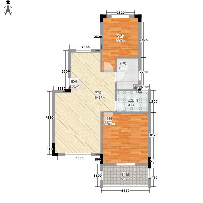奥林匹克花园83.00㎡北京之舞87#5户型2室2厅1卫1厨