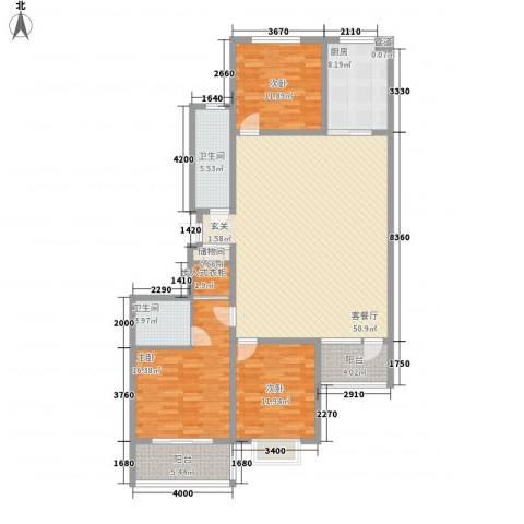 港澳花园3室1厅2卫1厨172.00㎡户型图