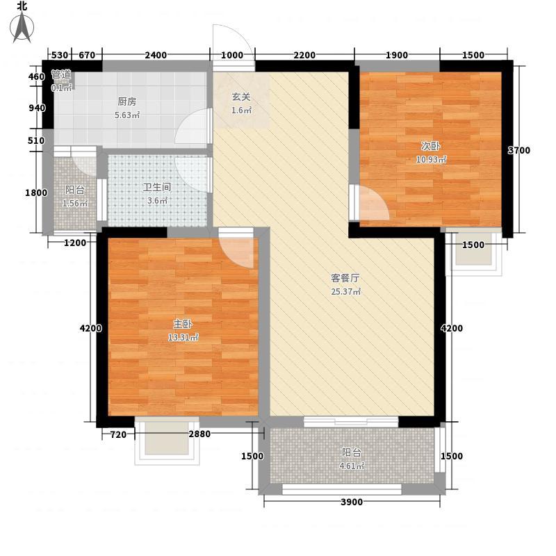 茗香苑户型图1#楼A户型 2室2厅1卫1厨