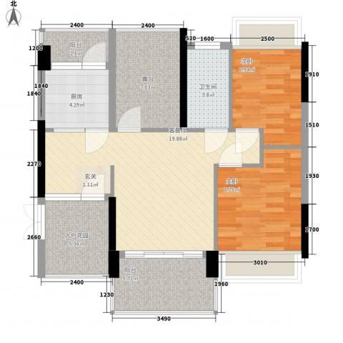 东鑫大厦2室1厅1卫1厨92.00㎡户型图