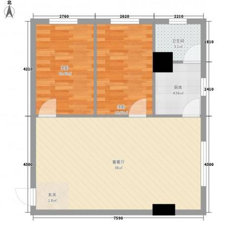 东鑫大厦2室1厅1卫1厨57.86㎡户型图
