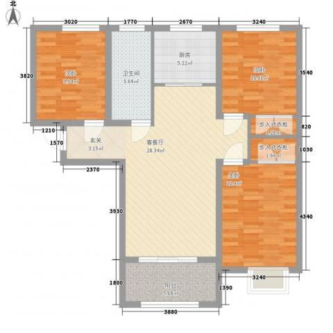 壹城公馆3室1厅1卫1厨115.00㎡户型图