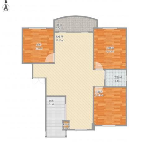 由中苑3室1厅1卫1厨121.00㎡户型图