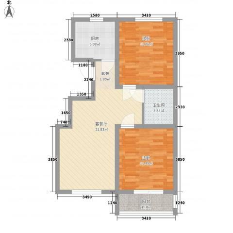 彼岸城2室1厅1卫1厨83.00㎡户型图
