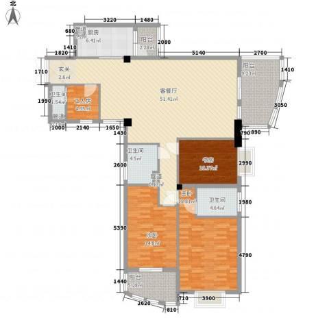 玉滨城三期3室1厅3卫1厨189.00㎡户型图