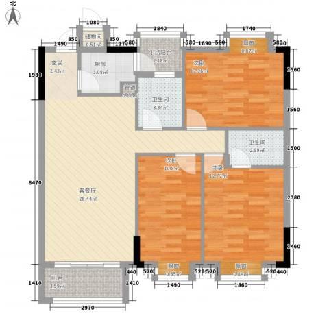 东江花苑3室1厅2卫1厨116.00㎡户型图