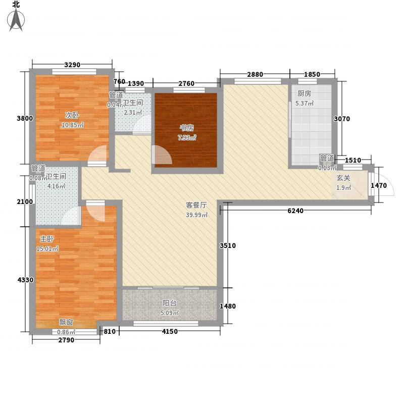 �达公寓三居室4户型3室2厅1卫1厨