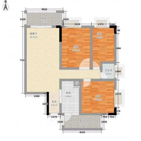 东江花苑3室1厅1卫1厨108.00㎡户型图