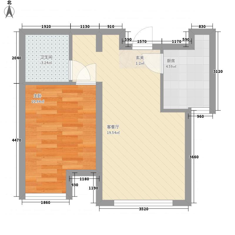 香语世界城55.56㎡E-02户型1室1厅1卫1厨